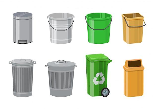 Kolorowy kosz na śmieci zestaw. kosz na śmieci z pedałem i uchylną pokrywą. wiaderko metalowe z nakrętką. ilustracje