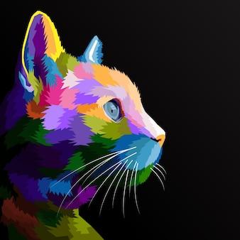 Kolorowy kot na białym tle portret pop-artu