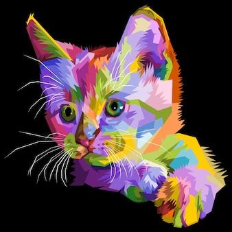 Kolorowy kot na białym tle.