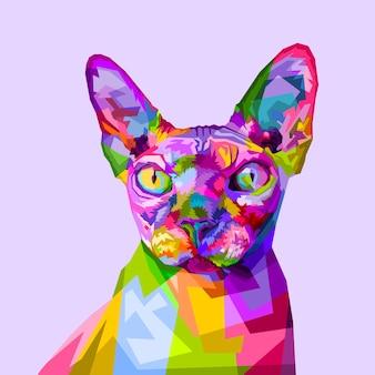 Kolorowy kot sfinks na styl pop-artu