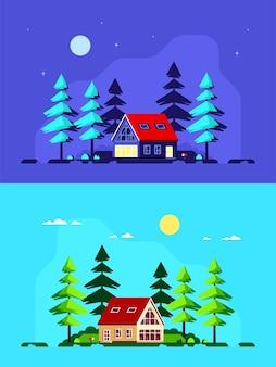 Kolorowy krajobraz z nowoczesnym wiejskim domem i sosnami. domek leśny, domek letniskowy, wiejski styl życia.