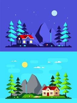 Kolorowy krajobraz z nowoczesnym wiejskim domem, sosnami i górami w tle. domek leśny, domek letniskowy, wiejski styl życia.