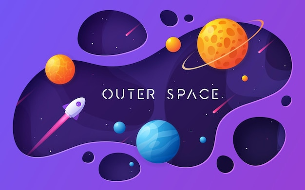 Kolorowy kreskówka tło kosmosu