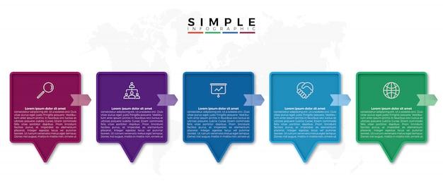 Kolorowy kwadrat infografiki