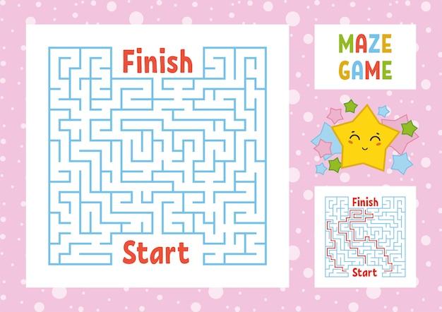 Kolorowy kwadratowy labirynt. znajdź właściwą ścieżkę od początku do końca.