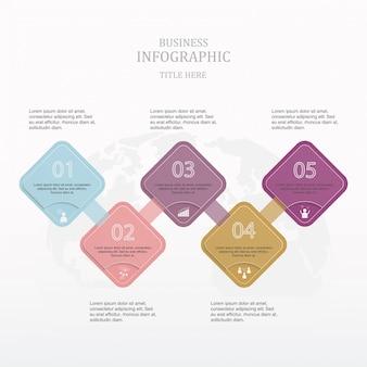 Kolorowy kwadratowy tekst infografiki.