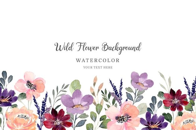 Kolorowy kwiat dzikiego tła z akwarelą
