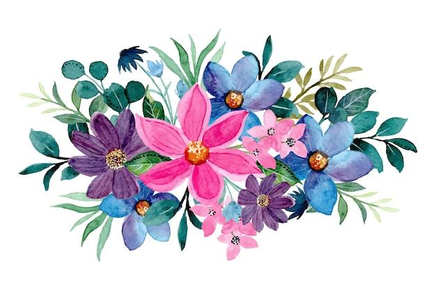 Kolorowy kwiatowy bukiet z akwarelą