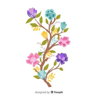 Kolorowy kwiatowy oddział w płaska konstrukcja
