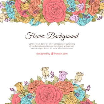 Kolorowy kwiatowy tło z ręcznie rysowane stylu