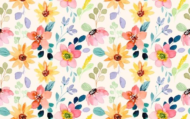 Kolorowy kwiatowy wzór akwarela bezszwowe