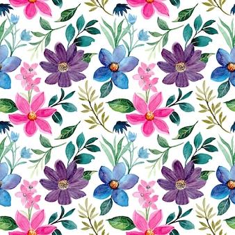 Kolorowy kwiatowy wzór akwarela