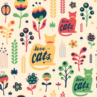 Kolorowy kwiatowy wzór z kotów miłości.