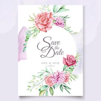 Kolorowy kwiatowy zaproszenie na ślub szablon