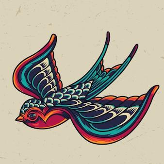 Kolorowy latający jaskółka szablon