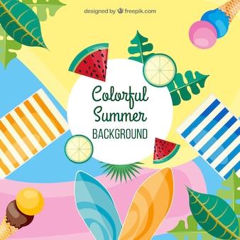 Kolorowy lato tło z płaskim projektem