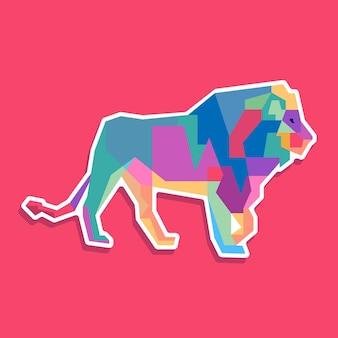 Kolorowy lew pop-artowy projekt portretu
