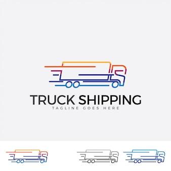 Kolorowy Logotyp Wysyłki Ciężarówek. Premium Wektorów