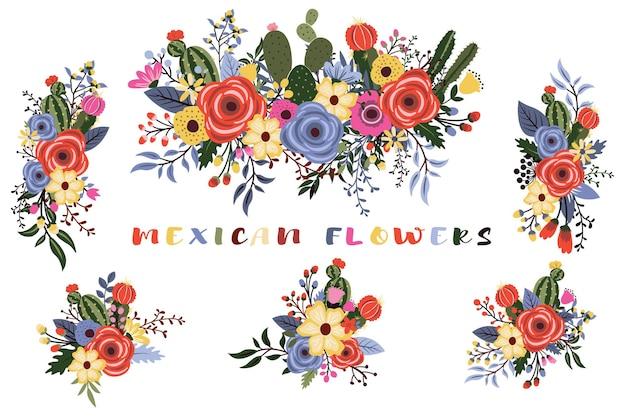 Kolorowy meksykański bukiet dzikich kwiatów