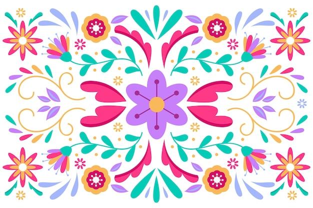 Kolorowy meksykański tło z kwiatami i liśćmi