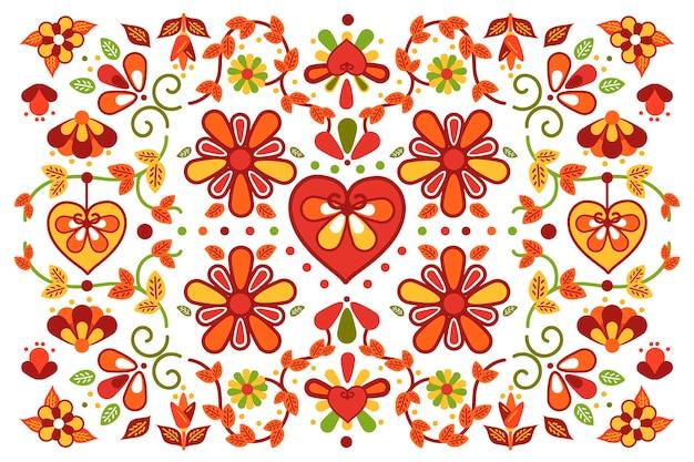 Kolorowy meksykański tło z kwiatami