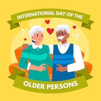 Kolorowy międzynarodowy dzień ilustracji osób starszych