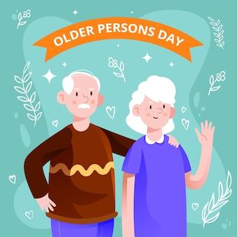 Kolorowy międzynarodowy dzień tła osób starszych