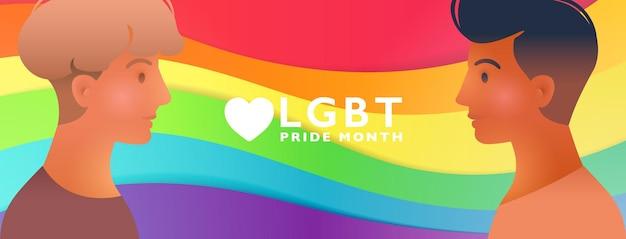 Kolorowy miesiąc dumy lgbt z portretem atrakcyjnej pary gejów