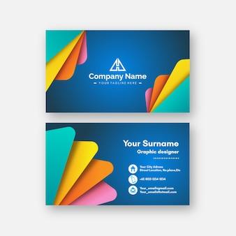 Kolorowy minimalistyczny szablon wizytówki