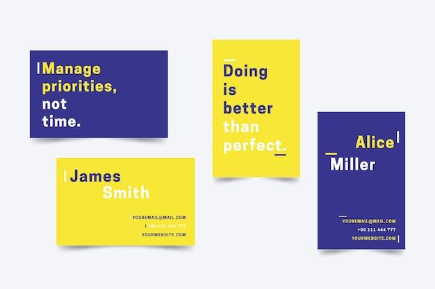 Kolorowy minimalny szablon wizytówki