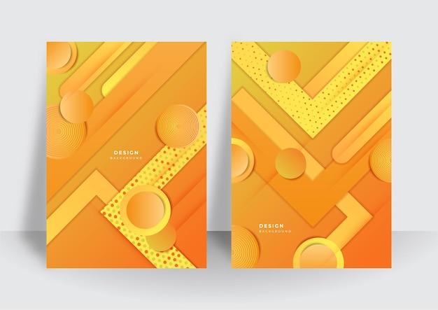 Kolorowy modny streszczenie 3d geometryczne pomarańczowe tło dla szablonu projektu okładki broszury. żywe tło wzór kontrastu z abstrakcyjnymi kształtami i kolorami. nowoczesny wzór wektorowy