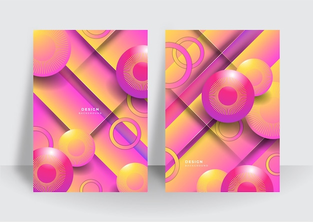 Kolorowy modny streszczenie 3d geometryczne tło dla szablonu projektu okładki broszury. żywe tło wzór kontrastu z abstrakcyjnymi kształtami i kolorami. nowoczesny wzór wektorowy
