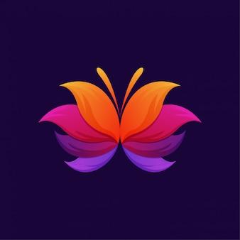 Kolorowy motyl gradient logo szablon