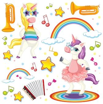 Kolorowy motyw muzyczny jednorożca