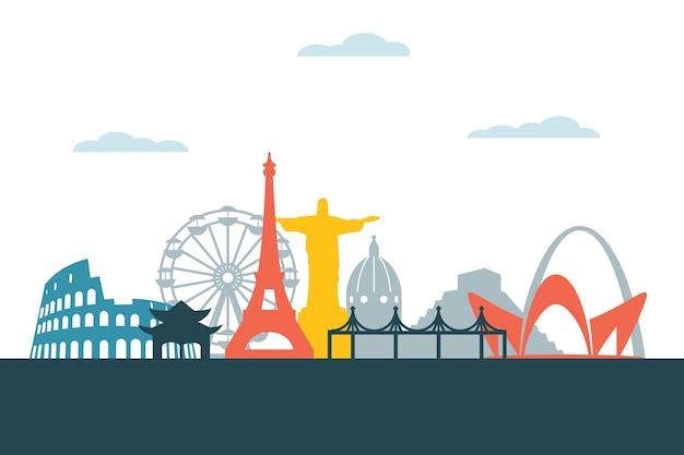 Kolorowy motyw na panoramę zabytków