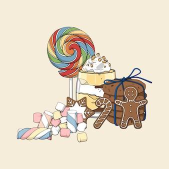 Kolorowy na białym tle wyciągnąć rękę zestaw słodyczy.