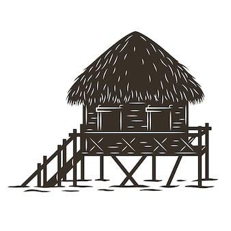 Kolorowy nadruk przedstawiający stojący bungalow na fali. ilustracja wektorowa projekt koszulki lato hawaje