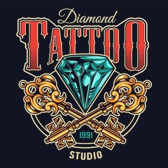 Kolorowy nadruk studio tatuażu w stylu vintage