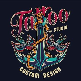 Kolorowy nadruk studio tatuażu