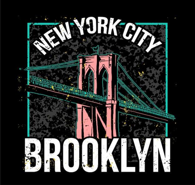 Kolorowy nadruk w stylu ulicy z mostem brooklyn z nowego jorku.