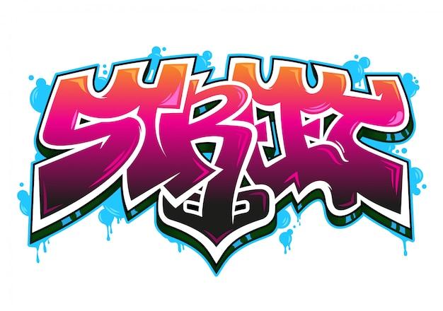 """Kolorowy napis """"street"""" w dzikim stylu graffiti z efektem aerozolu."""