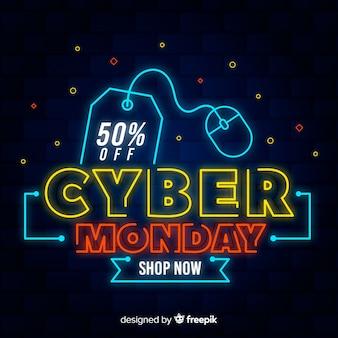 Kolorowy neon cyber poniedziałek
