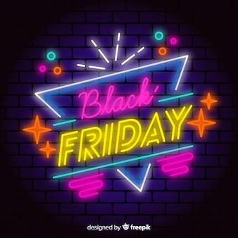 Kolorowy neon czarny piątek