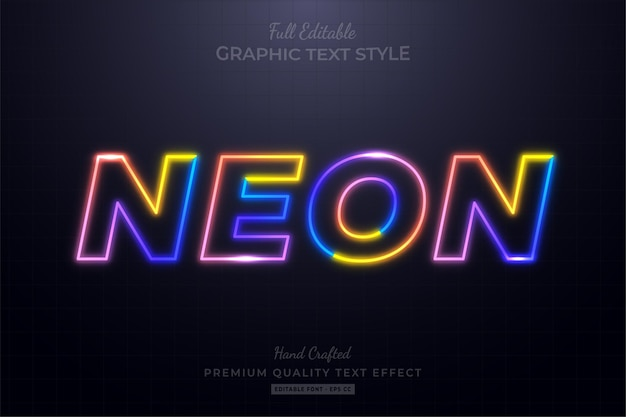Kolorowy neon edytowalny styl czcionki efektu tekstowego