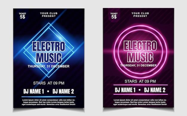Kolorowy neon light night dance party music ulotka lub projekt plakatu