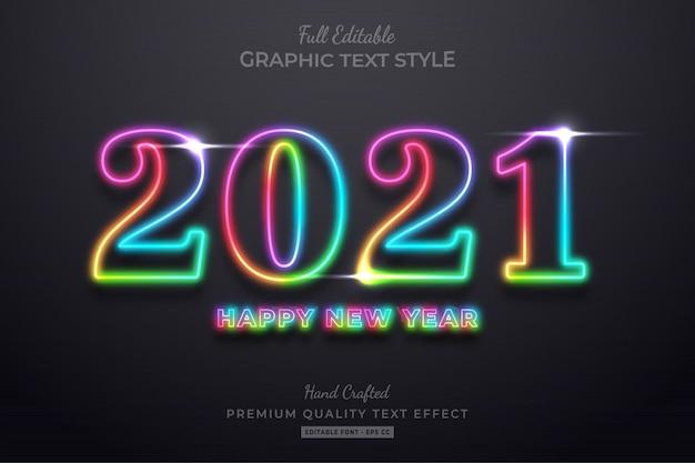 Kolorowy neon szczęśliwego nowego roku styl czcionki edytowalny efekt tekstowy