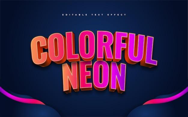 Kolorowy neonowy styl tekstu. edytowalny efekt stylu tekstu