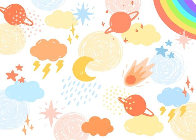 Kolorowy niebo ilustraci tło.
