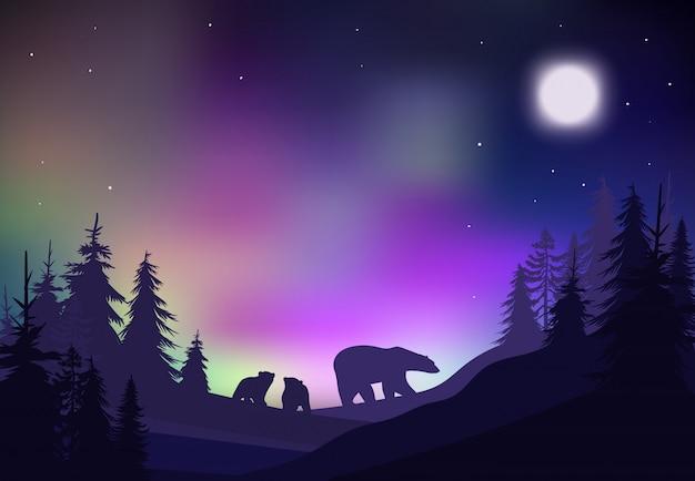Kolorowy nocny zimowy krajobraz lasu szablon