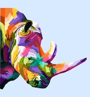 Kolorowy nosorożec pop-art portret premium wektor na białym tle dekoracja zwierząt dzikich zwierząt projekt plakatu